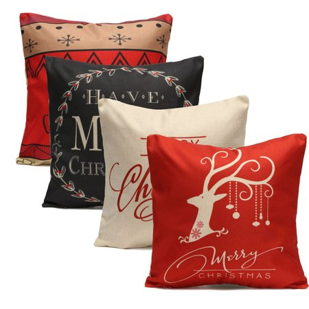 Awe Inspiring Christmas Christmas Socks Tree Deer Couch Cushion Pillow Covers 18X18 Square Zippered Cotton Linen Standard Decorative Waist Throw Pillow Covers Slip Inzonedesignstudio Interior Chair Design Inzonedesignstudiocom