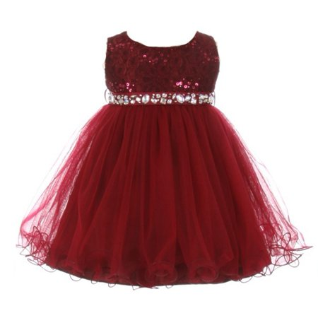 Baby Girls Burgundy Sequin Stone Lace Tulle Sleeveless Occasion (Best Wishes For Newborn Baby Girl)