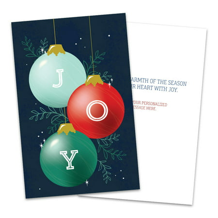 Personalized Round Ornament Folded Christmas Greeting Card ()