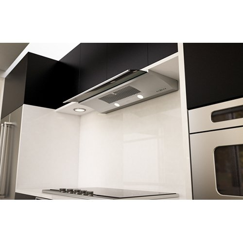 Genova ZGE-E36AS 36 Under Cabinet Range Hood with 500 CFM Internal Blower  Smoke Gray Sliing Glass  Electronic Touch Controls  Auto-Delay Off and Dual Level Lighting in Stainless Steel""