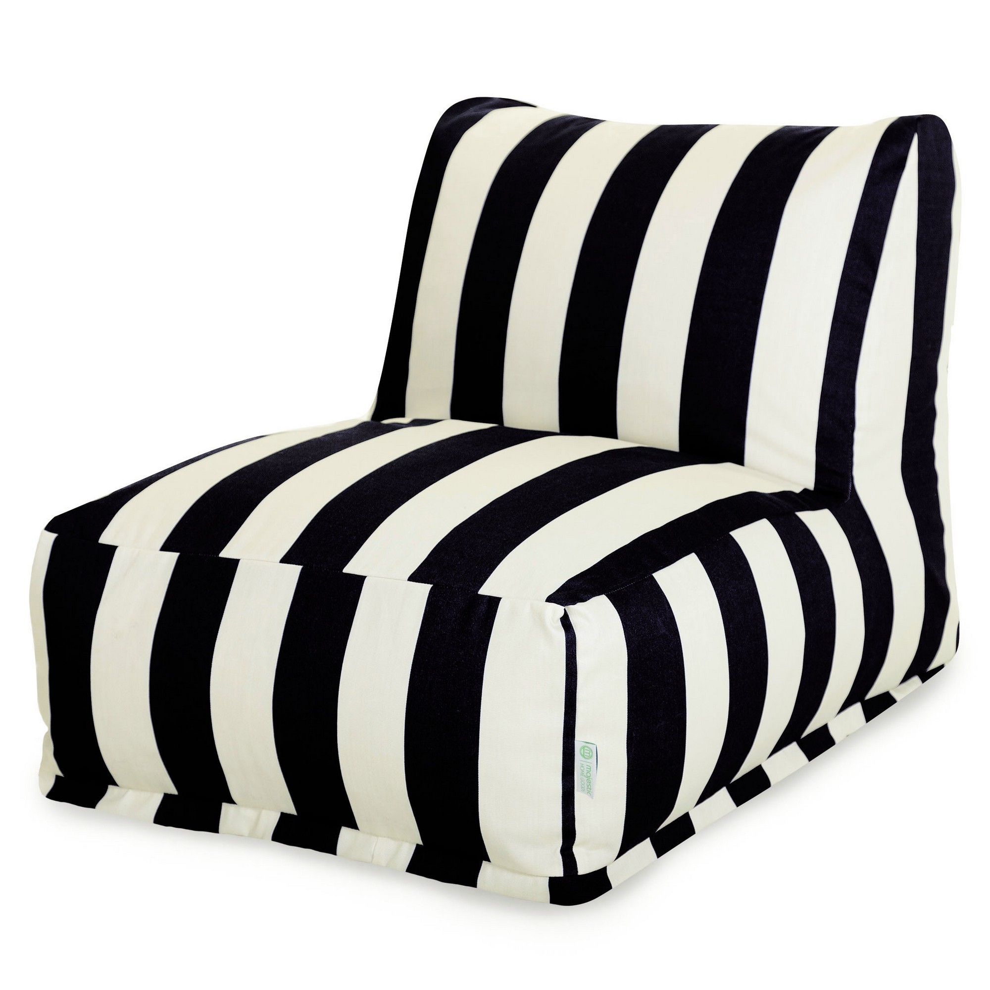 Majestic Home Goods Indoor Outdoor Black Vertical Stripe Chair Lounger Bean Bag 36 in L x 27 in W x 24 in H