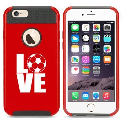 Apple iPhone 6 Plus / 6s Plus Hybrid Shockproof Impact Hard Cover / Soft Silicone Rubber Inside Case Love Soccer (Red),MIP