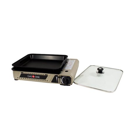Gas One Portable Butane Gas Stove Range Cook Top Camping Wide Grill with Tempered Glass Lid