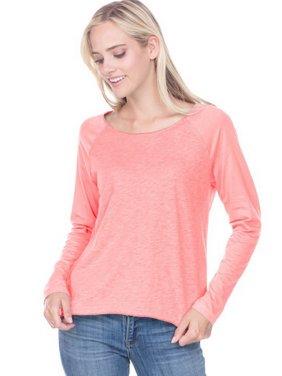Kavio JJS0678 Juniors Slub Jersey Raw Edge High Low Contrast Raglan Long Sleeve-Flamingo / Solid Flamingo-XL