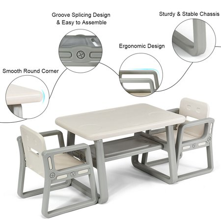 Gymax Kids Table and 2 Chairs Set Toddler Table w/ Storage Shelf For Baby Gift White - image 1 de 10