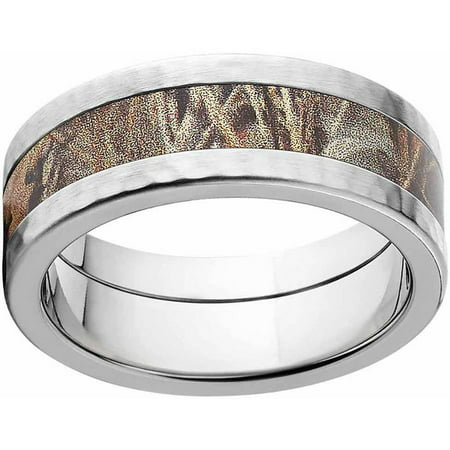Comfort Fit Hammer (Max 4 Men's Camo Stainless Steel Ring with Hammered Edges and Deluxe Comfort Fit)
