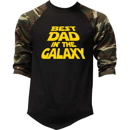 Men's Best Dad In The Galaxy Camo Raglan Baseball T-Shirt Medium