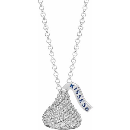 Hershey's Kisses Women's CZ Sterling Silver Small Flat Back Pendant, 16
