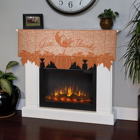 Pumpkin Lace Fireplace Cloth Pumpkin Maple Leaf Orange Spice Fall Thanksgiving