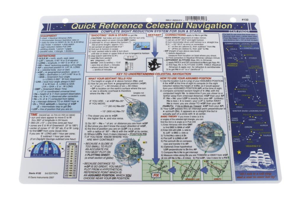 2 Items Davis Artificial Horizon /& Celestial Navigation Quick Reference Chart