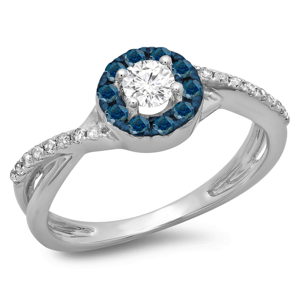 0.50 Carat (ctw) 10K Gold Round Cut Blue & White Diamond Split Shank Bridal Halo Engagement Ring 1/2 CT