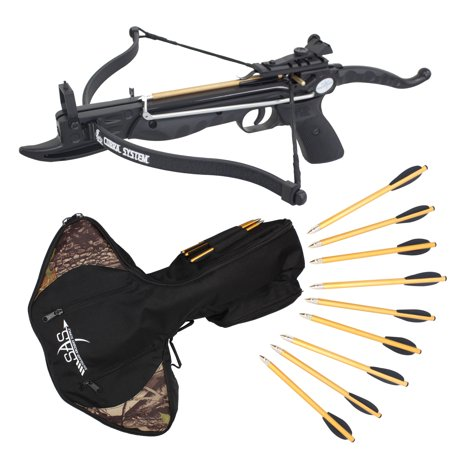 SAS Prophecy 80 Pound Self-cocking Pistol Crossbow + Carrying Bag and 13