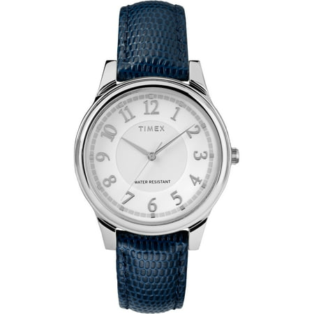 Women's Core 36mm Silver-Tone Watch, Blue Leather Strap Watch Blue Leather Strap Watch