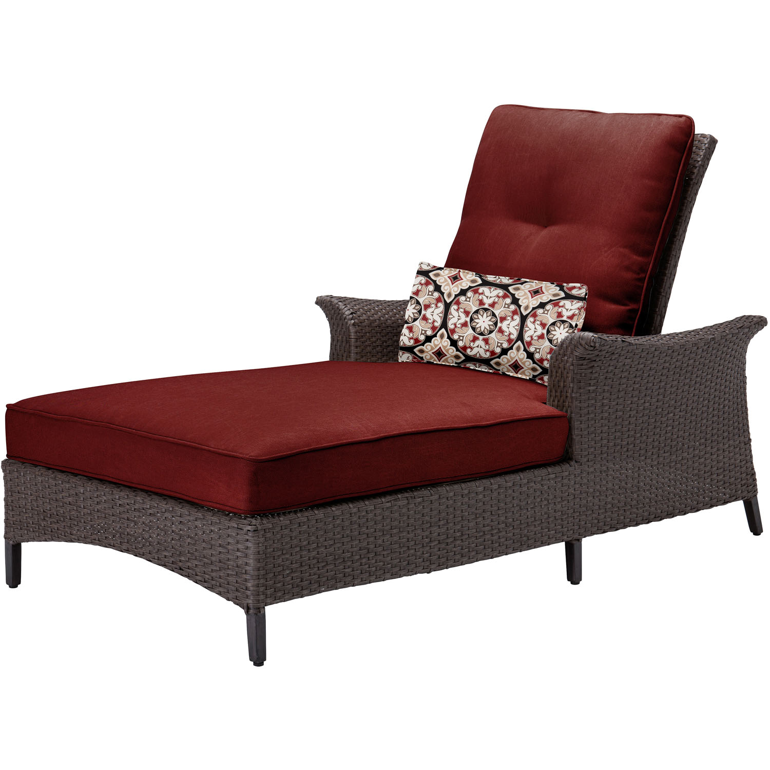 Hanover Gramercy Woven Chaise Lounge Chair with Crimson Red Cushions and Lumbar Accent Pillow