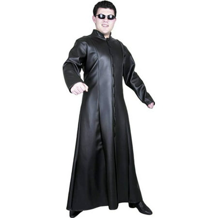 Adult's Street Fighter Matrix Man Black Faux Leather Long Fitted Trench - Trinity From Matrix Costume