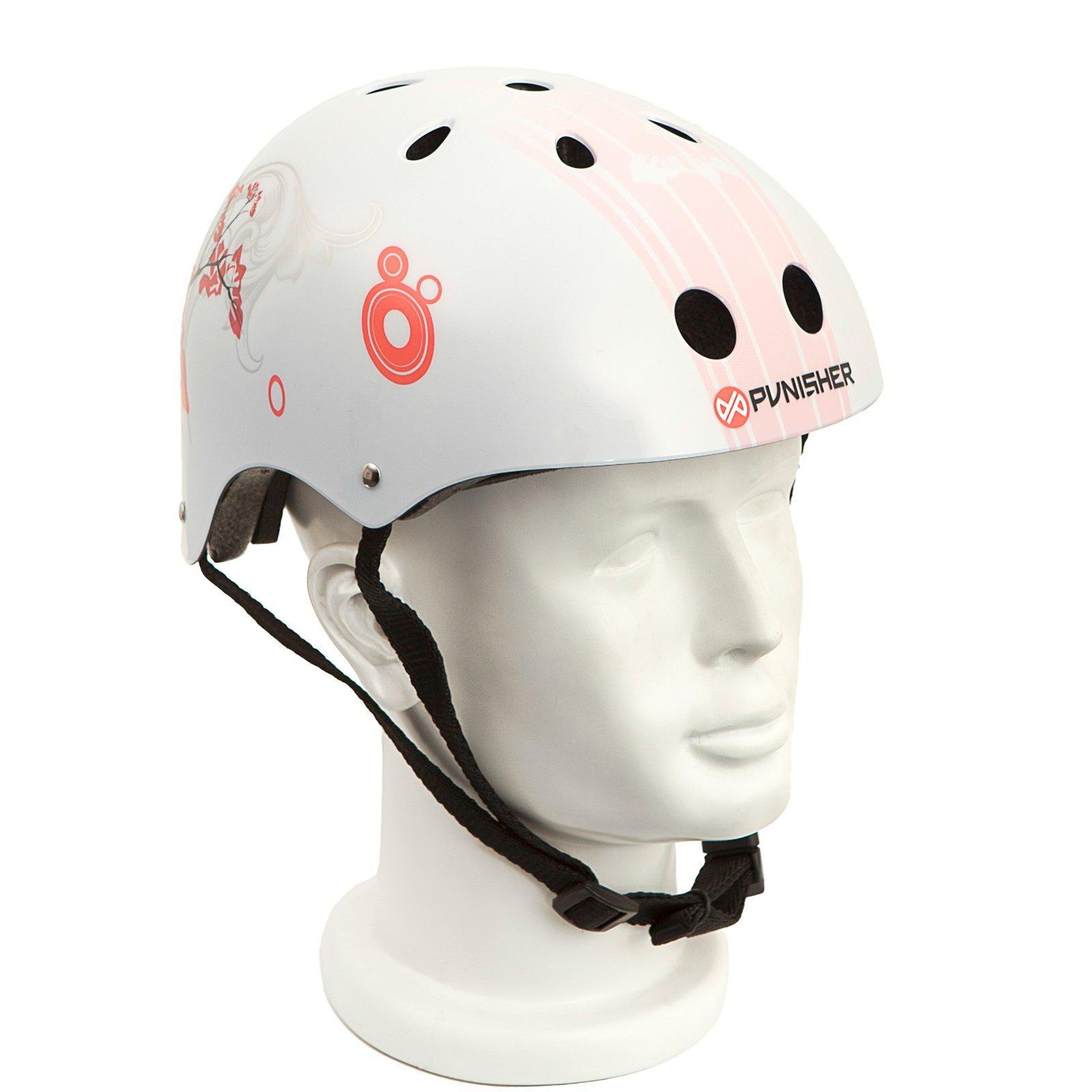 Punisher Skateboards Cherry Blossom Pink and White Adjustable All-Sport Skate-Style Helmet, Medium