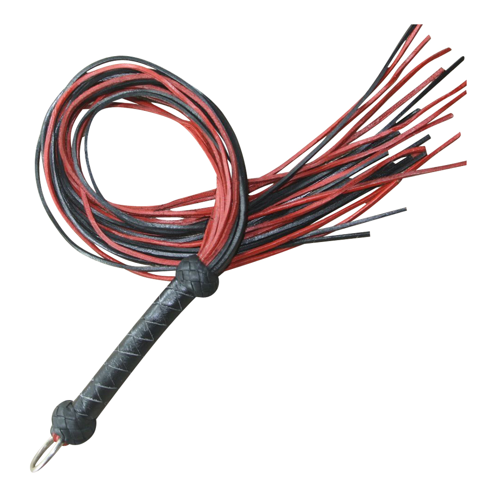 Real Leather Flogger Red & Black Thick Leather 24 Tails Black Braided Handle