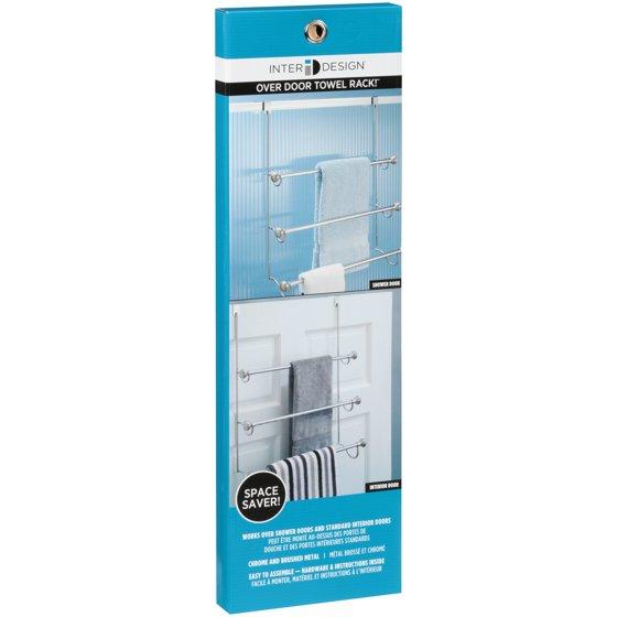 Interdesign York Over The Shower Door Towel Rack For Bathroom Chrome Brushed