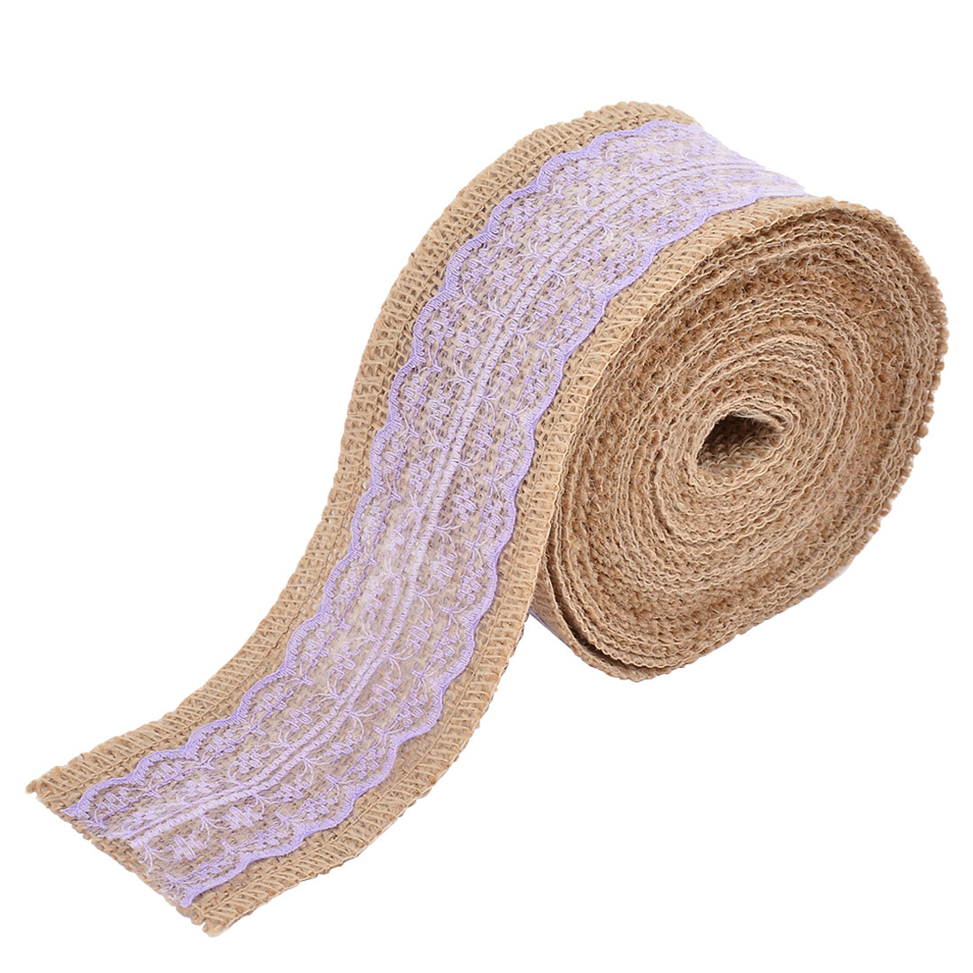 Burlap Rustic Style Crafting Gift Packing Ribbon Roll Light Purple 6.6 Yards