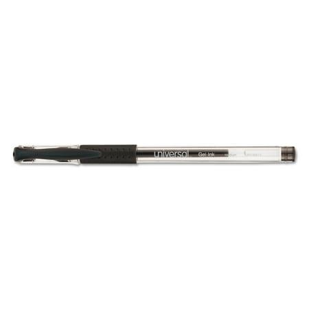 Universal Comfort Grip Gel Stick Roller Ball Pen, 0.7 mm, Medium, Black Ink, 60/PK -UNV39513 ()