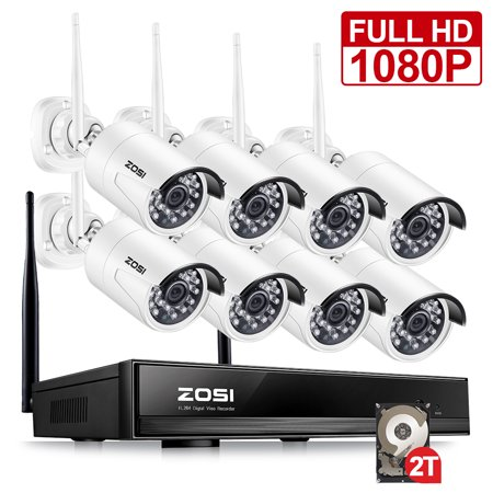 ZOSI Full 1080p Wifi Wireless Security System 8CH 1080p NVR 2TB HDD with 8 2MP Outdoor Indoor Bullet IP Cameras Night Vision