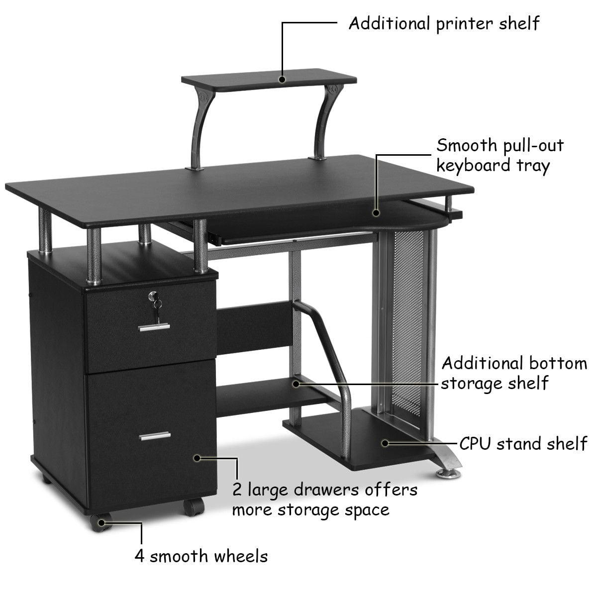 Computer Desk With Printer Shelf