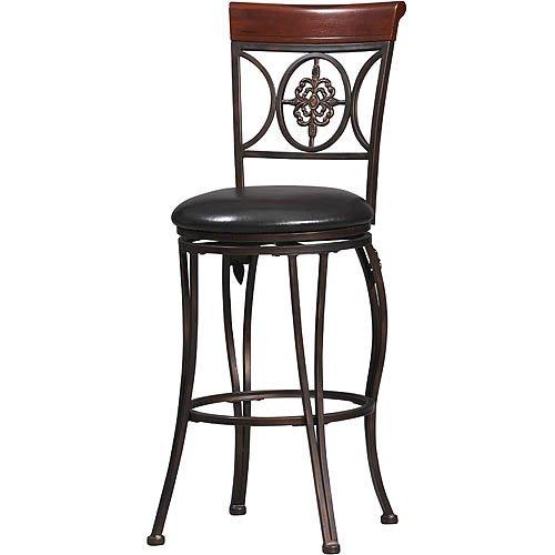 Linon Fleur De Lis Bar Stool Dark Antique Brown 30 Inch Seat Height