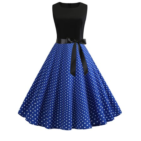 c953a09bf8ab7 SDSINC - Women Retro Vintage Rockabilly Spotted Evening Party Prom Swing  Midi Dress - Walmart.com
