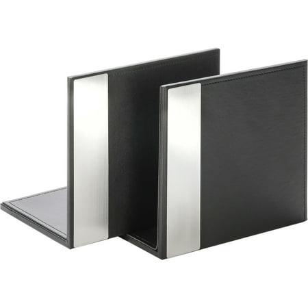 Artistic Architect Line Bookends, 6 3/4 x 6 3/4 x 5, Black/Silver