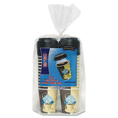Duo Shield Insulated Paper Hot Cups/Lids Combo Pack SLOFSIC12J753PK