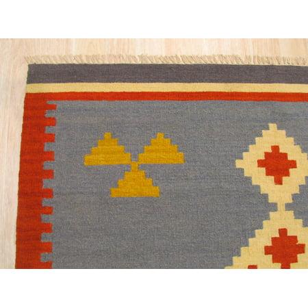 EORC DN6MU5X8 Handmade Wool Keysari Kilim Rug, Blue, 5` X 8` - image 4 de 4