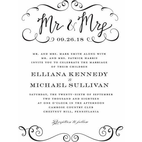Calligraphy Mr and Mrs Standard Wedding Invitation