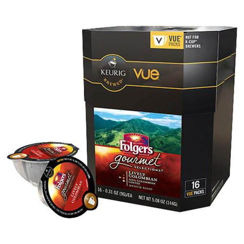 Folgers Gourmet Selections Lively Columbian Medium Roast Coffee Keurig Vue Portion Packs, 32 Count