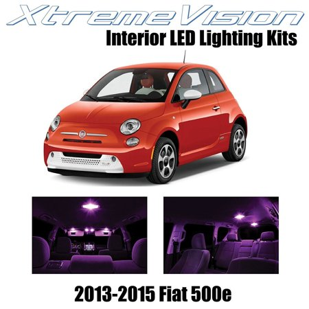 XtremeVision LED for Fiat 500e Electric car 2013-2015 (3 Pieces) Pink Premium Interior LED Kit Package + Installation Tool (Pink Led Lights Car)
