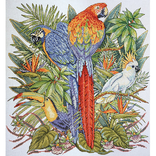 "Birds Of Paradise Counted Cross-Stitch Kit, 16"" x 17"", 14-Count"