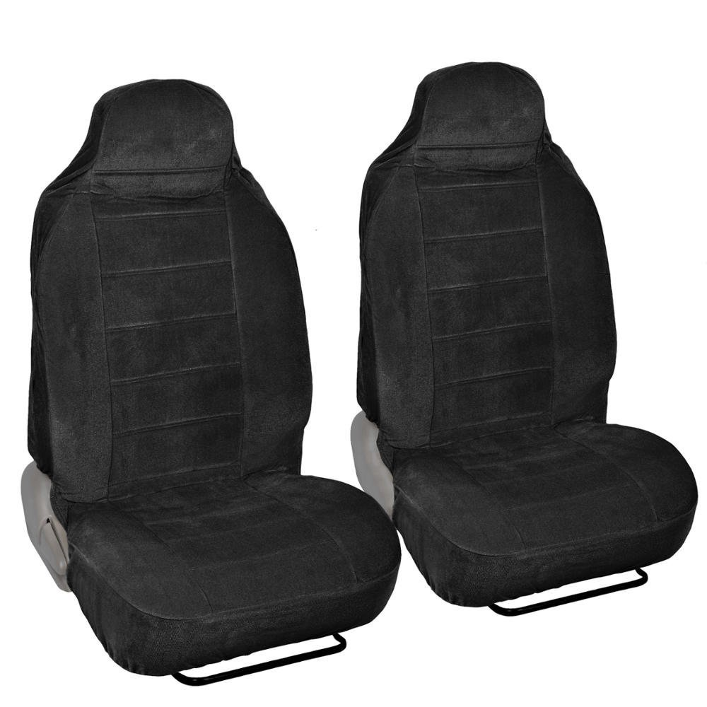 Full Bucket Fine Velvet Seat Covers - Rich Black Velour Front Pair