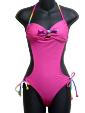 Joe Boxer Juniors Womens Hot Pink Rainbow Gem Monokini Swim Suit Swimming