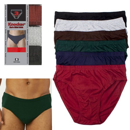 3 Pack Knocker Mens Bikinis Briefs Underwear 100% Cotton Solid Size Large 36-38 (Mens Large Sizes)