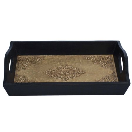 Handmade Serving Tray With Embossed Brass Work In Wood Frame Benzara Brand