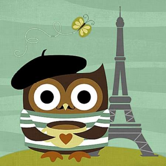 Owl in Paris Poster Print by Nancy Lee