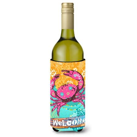 Coastal Pink Crab Wine Bottle Beverage Insulator Hugger VHA3028LITERK