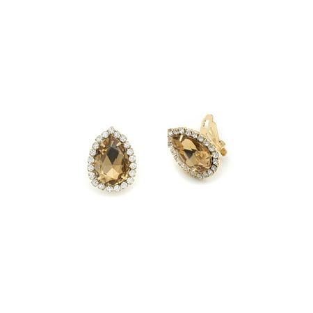 Silver Crystal Rhinestone Wrap with Light Colorado Topaz Teardrop Center Clip Earrings