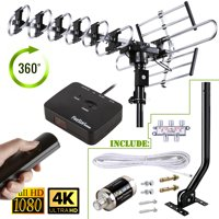 [40ft Cable Splitter Mounting Pole Surge Protector]Reception 200 Mile Long Range Outdoor 4K HDTV Antenna with 360 Degree Rotation w/ Remote Control UHF/VHF/FM