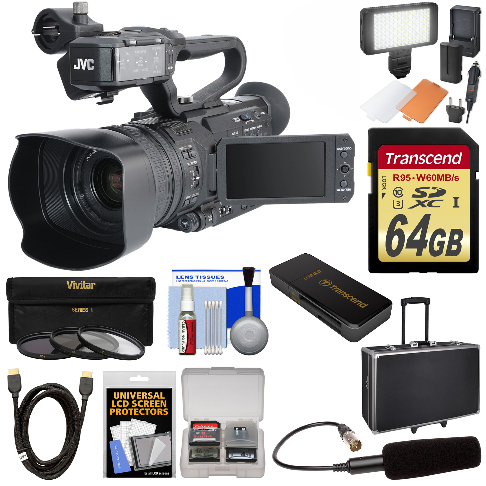 JVC GY-HM200U Ultra 4K HD 4KCAM Professional Camcorder & Top Handle Audio Unit with XLR Microphone + 64GB Card + Hard Case + LED Light Kit
