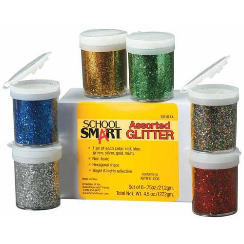 School Smart Craft Glitter with Shaker Tops, 0.75-Ounce Jar, Assorted Colors, Set of 6
