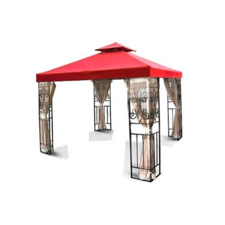 12'x12' Gazebo Replacement Canopy Top Cover (Red) - Dual Tier with Plain Edge Polyester UV30 Waterproof for Outdoor Garden Patio Pavilion Sun Shade Dual Power Feed Canopy
