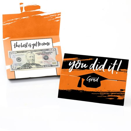 Orange Grad - Best is Yet to Come - Orange Graduation Party Money And Gift Card Holders - Set of 8