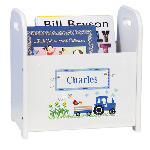 Personalized Blue Tractor Caddy and Book Rack