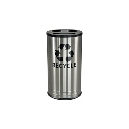 Smiley Three Stream Recycling Receptacle in Stainless Steel (Streams Of Silver)