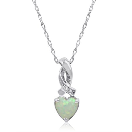 71a6b0908 Amanda Rose - Created Opal Heart Shaped and Diamond Pendant-Necklace in Sterling  Silver - Walmart.com